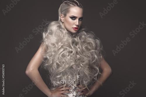 Obraz na plátně Beautiful girl in art dress with avant-garde hairstyles