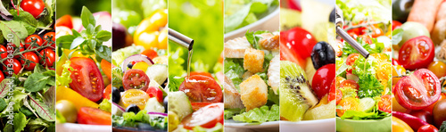 Canvas Print collage of various salad