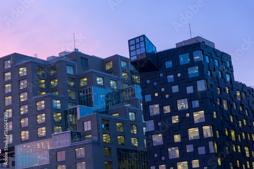 Night view of illuminated street in the Oslo business center.