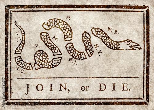 Canvas-taulu Join or die, Benjamin Franklin's warning to British colonies in