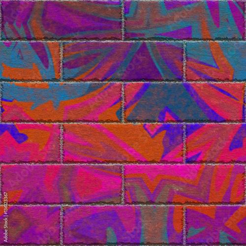 Continuous  pattern  of graffiti brick wall