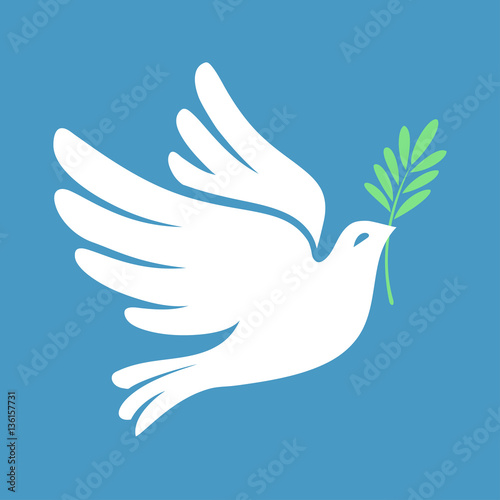 Fotografering Silhouette of a flying dove with olive branch. White pigeon