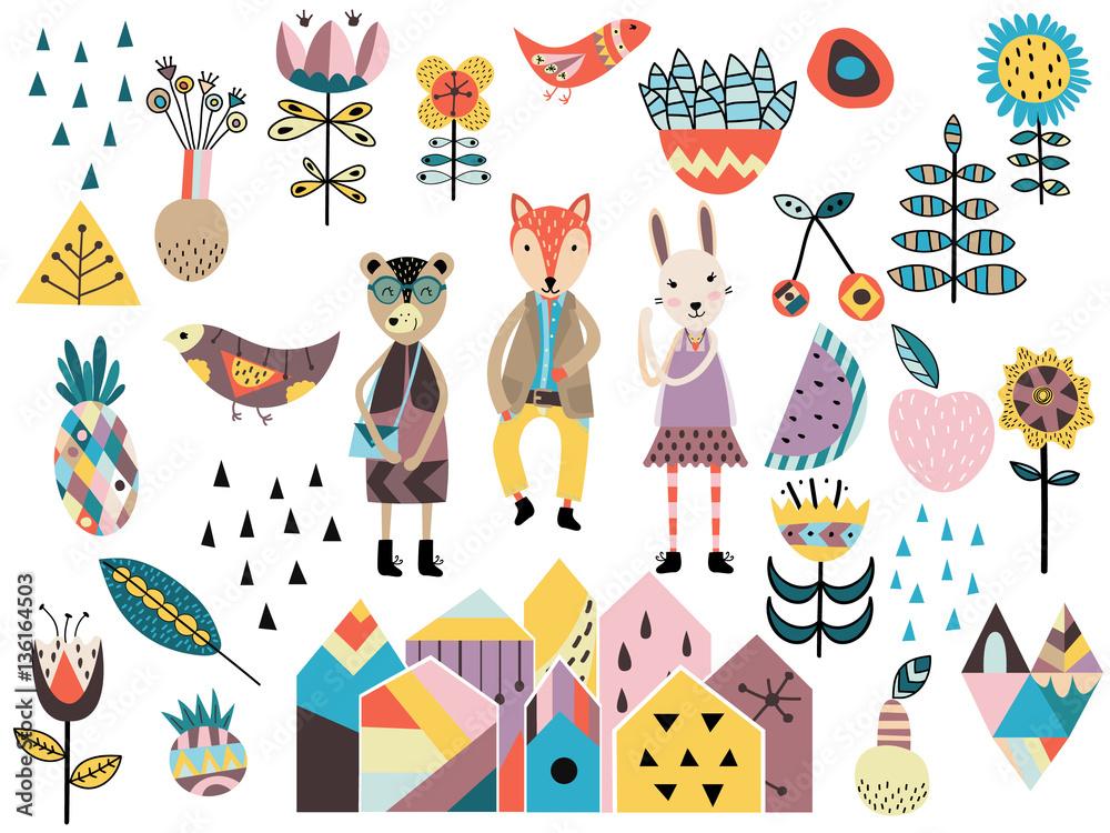 Zestaw elementów cute i stylów skandynawskich i zwierząt. <span>plik: #136164503 | autor: happiestsim</span>