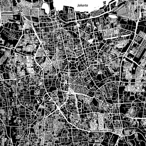 Fotografie, Obraz Jakarta Vector Map