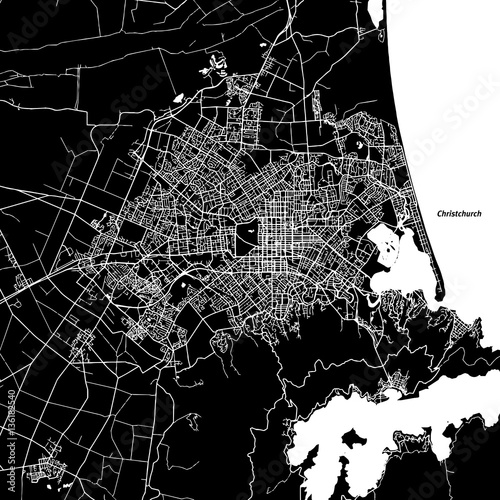 Fotografie, Obraz Christchurch Vector Map