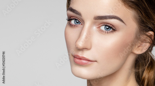 Slika na platnu Beauty portrait of female face with natural clean skin