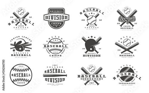 Canvas Print Badges set of baseball team