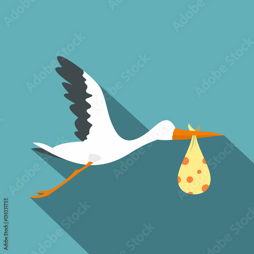 Photo Flying stork with a bundle icon, flat style