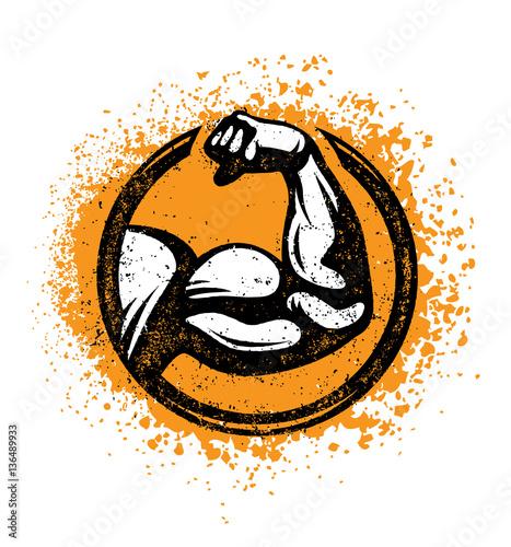 Canvas-taulu Biceps Flex Arm Rusty Gym Sign