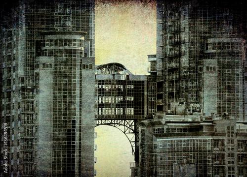 Bridge in the sky   - grunge  vintage   photo