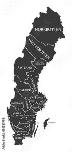 Wallpaper Mural Sweden Map labelled black illustration