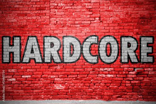 Hardcore Ziegelsteinmauer Graffiti Fototapeta