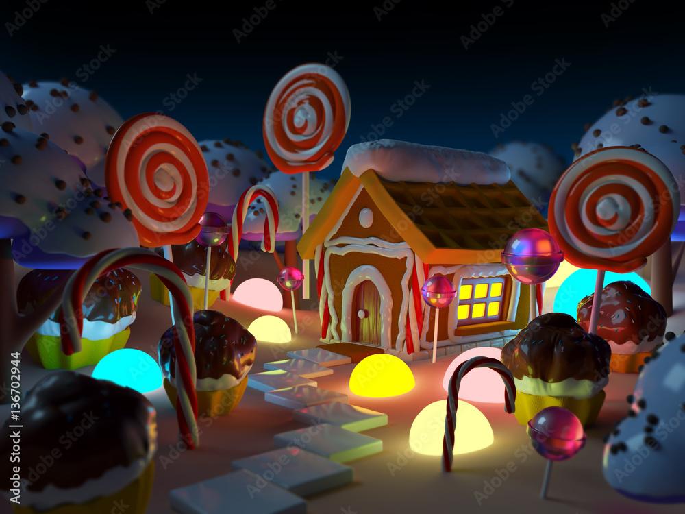 candy land landscape at night