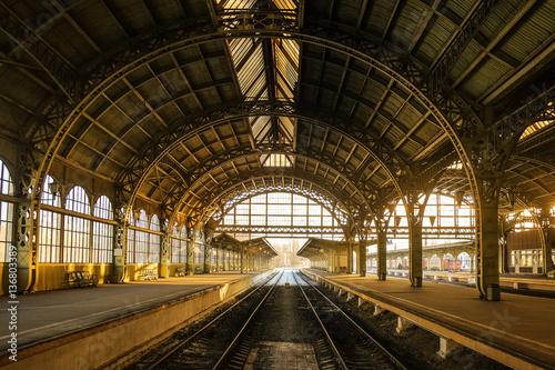 Vitebsky railway station during sunset