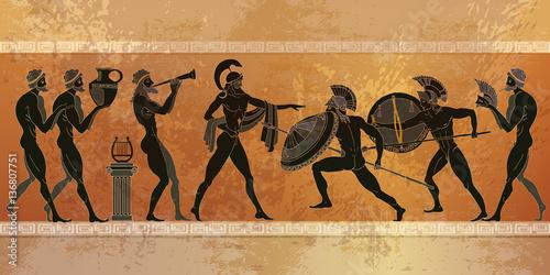 Slika na platnu Ancient Greece scene. Black figure pottery