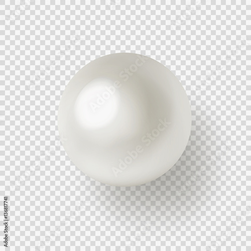 Fotografia Vector illustration of shiny natural white sea pearl with light effects isolated on transparent background