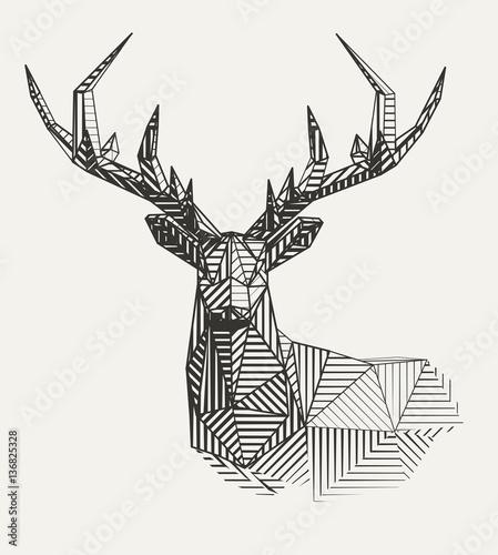 Photo Vector low poly line art. Geometrical reindeer illustration.