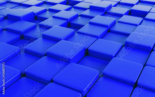 Fototapeta premium Błękitny abstrakcjonistyczny wizerunek sześcianu tło. Renderowania 3d