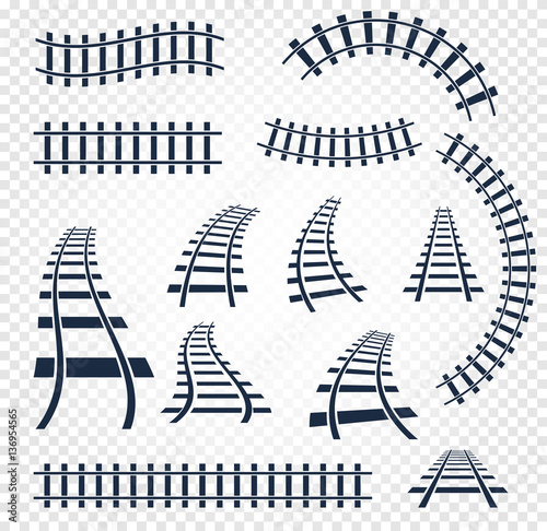 Fotografie, Obraz Isolated curvy and straight rails set, railway top view collection, ladder elements vector illustrations on white background