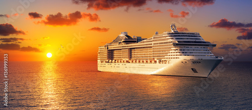Cruise At Sunset In Ocean
