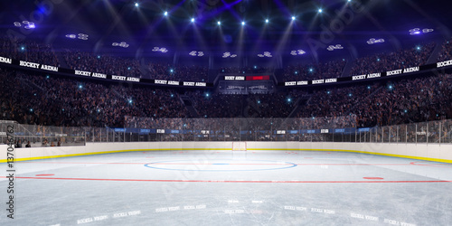 Sport hockey stadium 3d render whith people fans and light