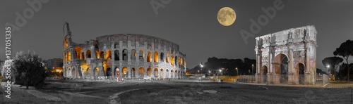 Canvas-taulu Rom Colosseum und  Konstantinsbogen sw col Panorama