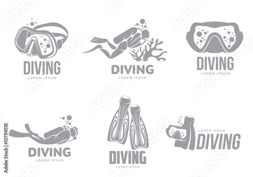Set of black and white graphic diving logo templates with divers, mask, flippers, vector illustration isolated on white background Fototapet