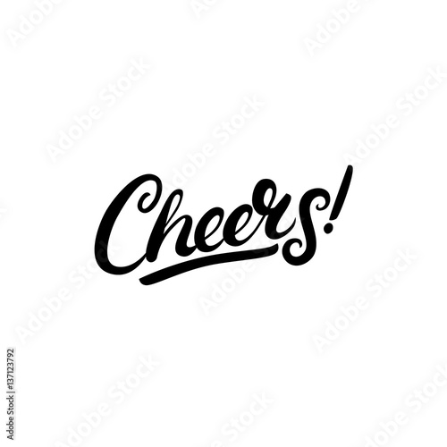 Valokuva Cheers hand written lettering. Isolated on white background.