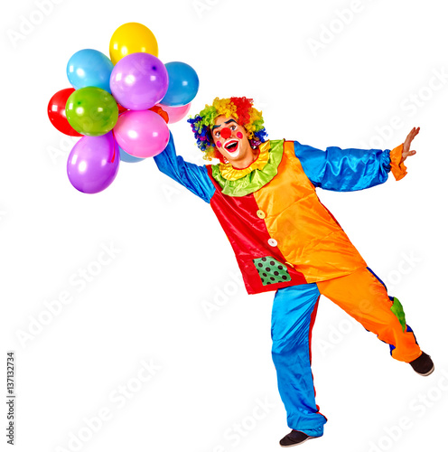 Fotografia Birthday child clown with balloons bunch on isolated