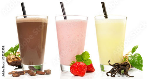 Stampa su Tela Milchshake - Schokolade, Erdbeere, Vanille