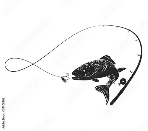Cuadros en Lienzo Fish and fishing rod silhouette