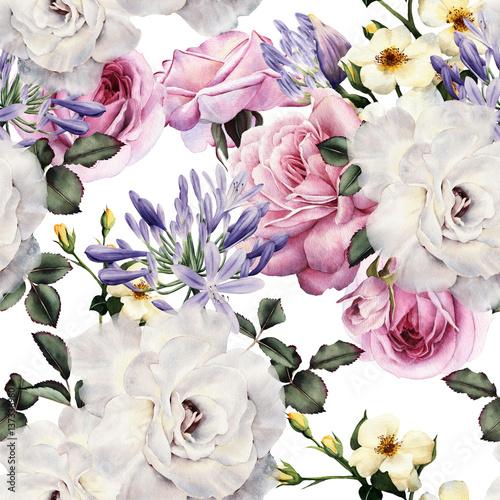 Tapeta Kwiatowy wzór z kwiatami, akwarela