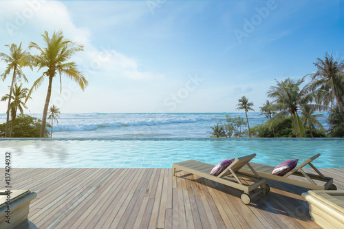 Stampa su Tela Swimming Pool with  the sea