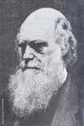 Fotografiet Portrait of the scientist philosopher Charles Darwin