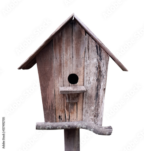 Fotografia Wooden birdhouse isolated on white background, clipping path included