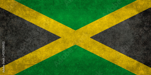 Wallpaper Mural Jamaican Flag with vintage distressed textures