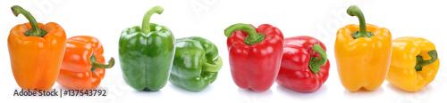 Obraz na plátně Paprika Paprikas bunt frisch Gemüse Freisteller freigestellt isoliert in einer R