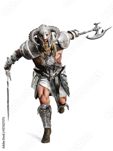 Obraz na plátně Fierce armored barbarian warrior running into battle on an isolated white background