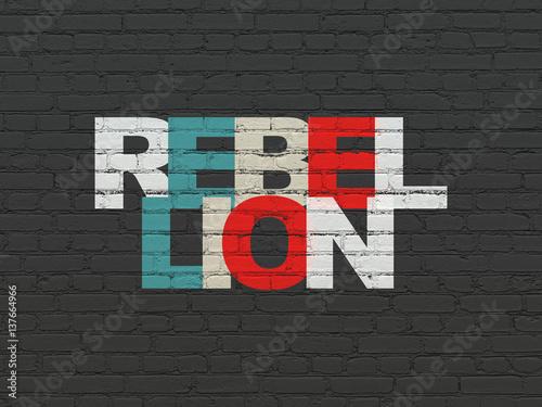 Fototapeta Political concept: Rebellion on wall background