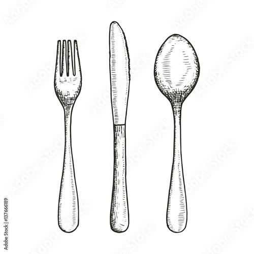 Fototapeta cutlery set sketch