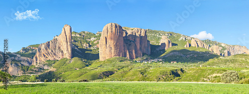 Photo Panorama of Mallos De Riglos rocks in Huesca province, Aragon, Spain