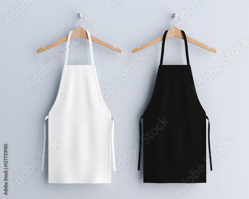 Photo White and black aprons, apron mockup, clean apron