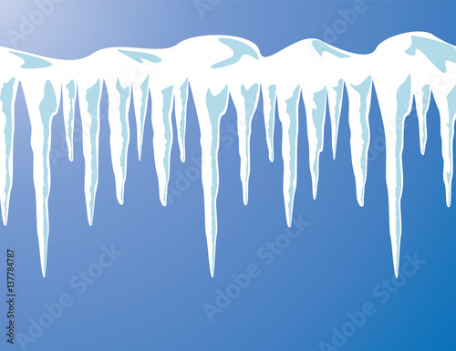 Obraz na plátně vector icicles and snow background