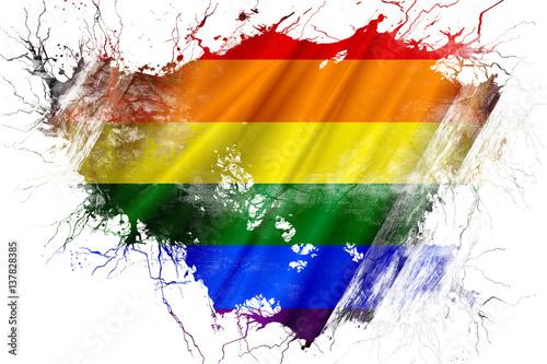 Grunge old Gay pride  flag Fototapeta