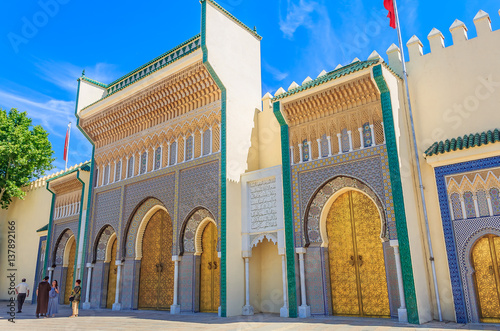 Gate to the palace of the king of Morocco in Fes or Fez