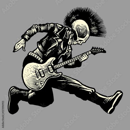 Fototapeta skull punk style guitarist