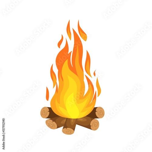 Foto Vektor-Illustration der brennenden Lagerfeuer mit Holz auf weißem Hintergrund