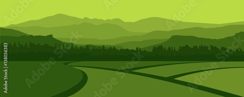 Fotografia Green Landscape of Mountain Hills and Rice Field in The Village