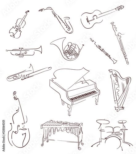 Foto Set of classical musical instruments made in abstract hand drawn style