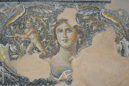 "Canvas Print ""Mona Lisa of the Galilee"" - mosaic floor in Tzippori, Israel"